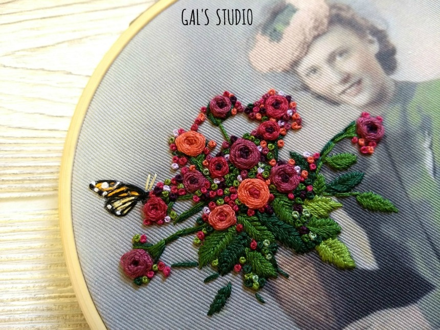 galstudio girl n butterfly embroidery